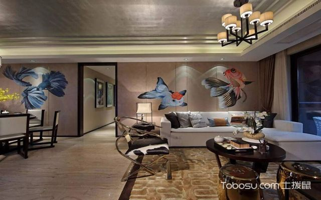 西安100平米中式两室一厅装修效果图 客厅