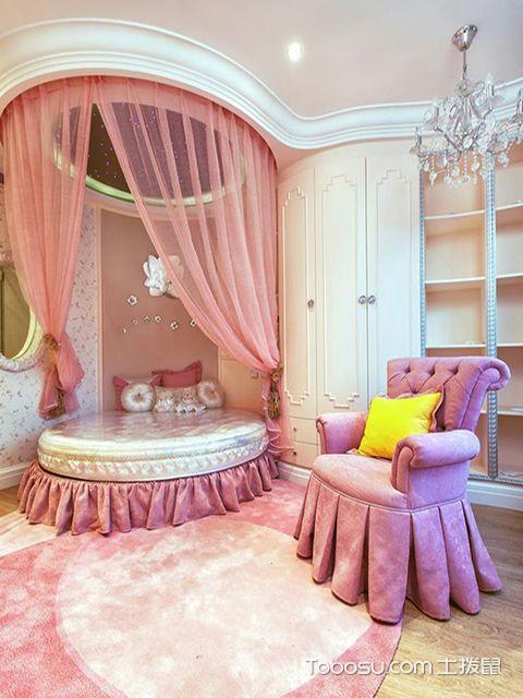最新大户型粉色公主房效果图 优雅