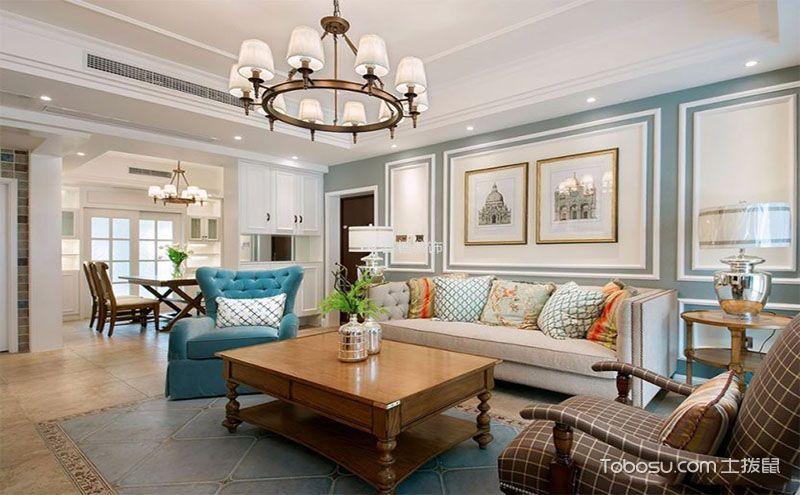 大居室简美风格客厅家装效果图,让我们的客厅典雅奢华!