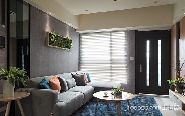 杭州小户型66平单身公寓简约装修图灰色系客厅
