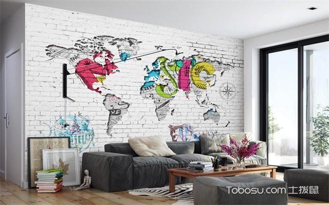 北欧风格文化墙砖效果图之彩色地图