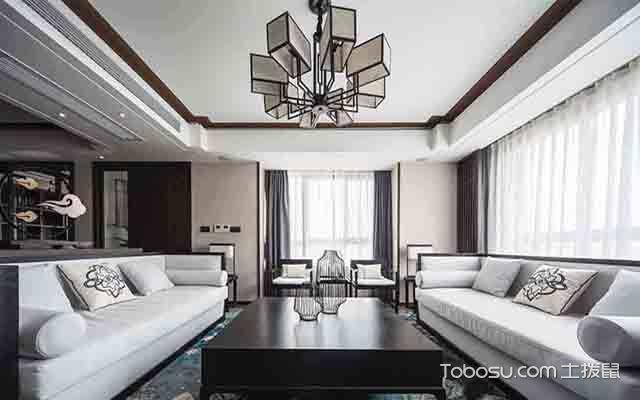 新中式吊灯装修设计图之长方形客厅