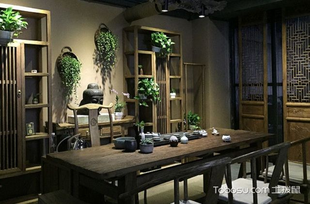 最新小户型中式家庭茶室装修设计之绿植