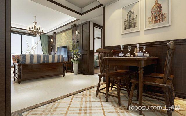 餐厅客厅开放设计效果图 美式