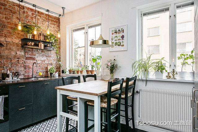 上海60平简欧公寓装修厨餐厅