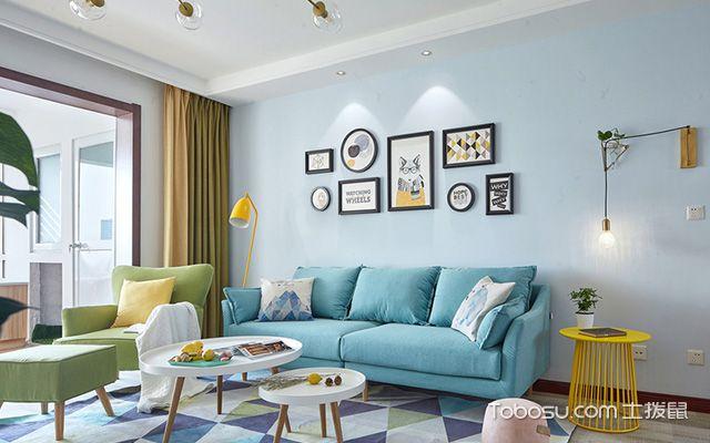 扬州80平米简约两居装修效果图客厅设计