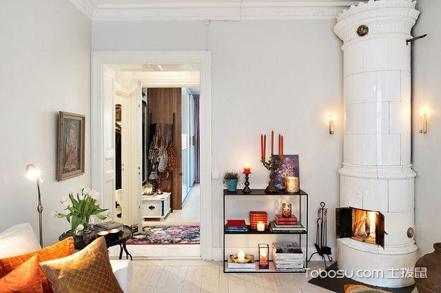 60平米法式小户型装修风格之壁炉