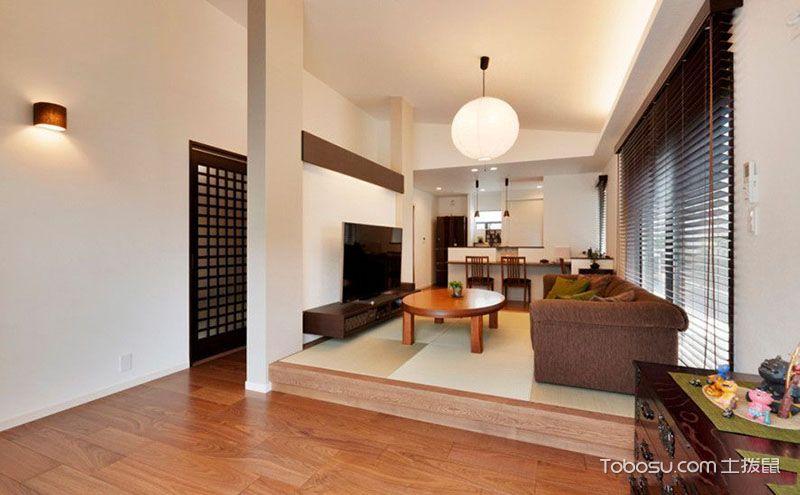日式客厅榻榻米装修效果图,尽显东瀛风情