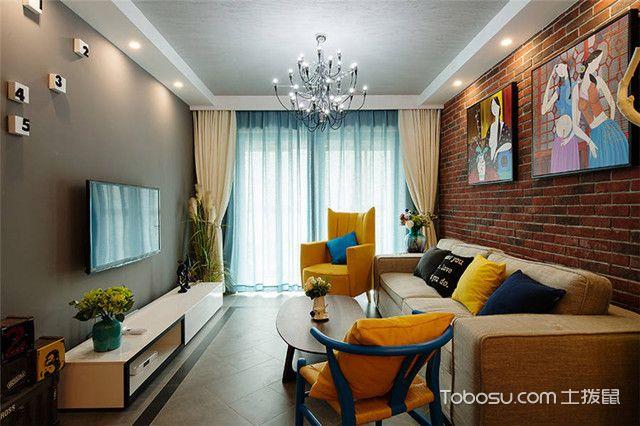 80平二居室装修客厅