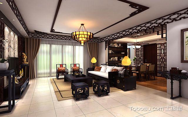 2017大户型客厅布艺沙发摆放效果图 中式