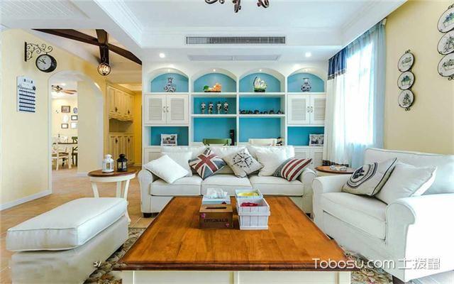 120平米地中海风格三居婚房装修之客厅