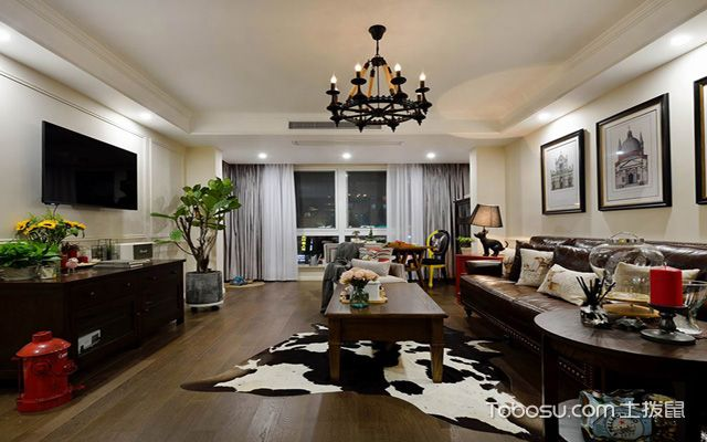 80平米美式小两房装修效果图 客厅