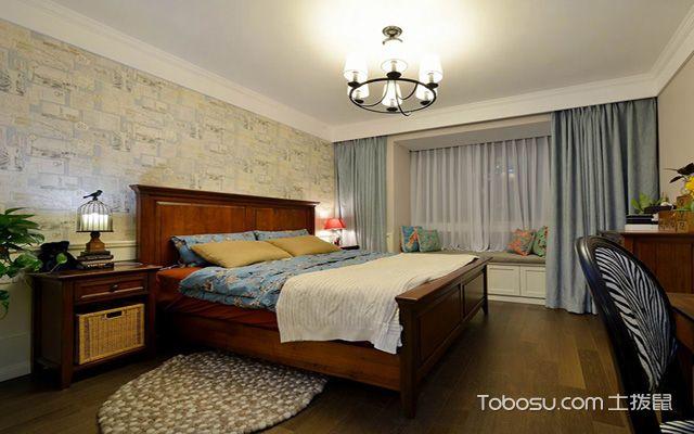 80平米美式小两房装修效果图 主卧