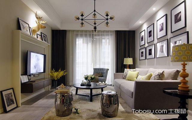 珠海90平米简美风格效果图客厅
