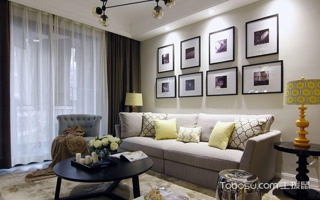珠海90平米简美风格效果图客厅设计