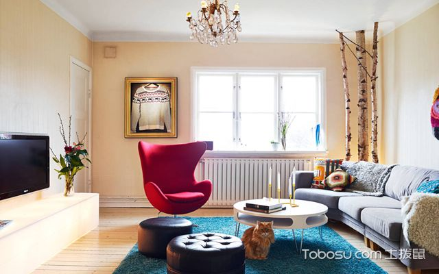 80平米北欧二居室装修 客厅