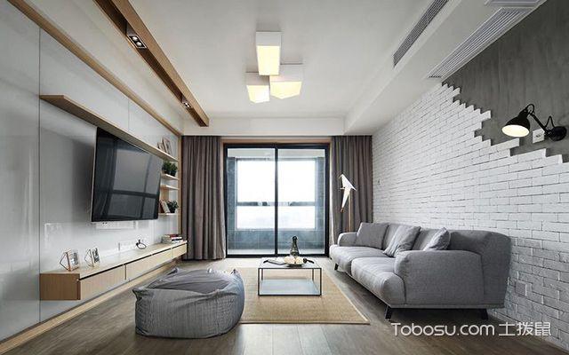 深圳86平简约风格两房装修案例客厅设计