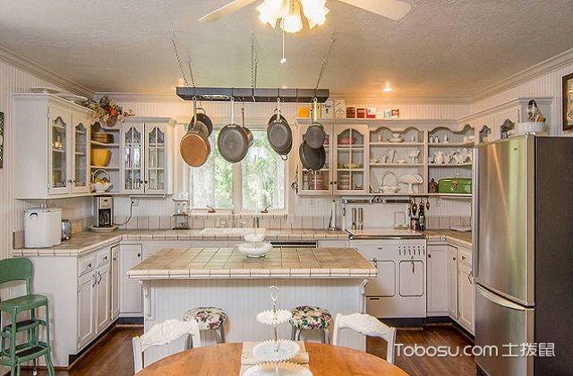 最新田园风格开放式厨房装修图片之收纳