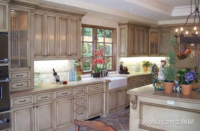 最新田园风格开放式厨房装修图片之橱柜