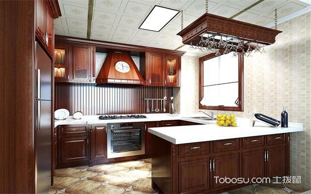 最新美式厨房吊顶装修效果图之木质橱柜