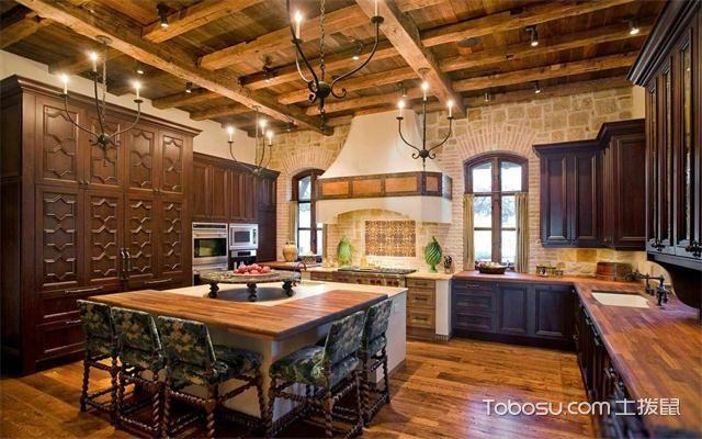 最新美式厨房吊顶装修效果图之原木吊顶
