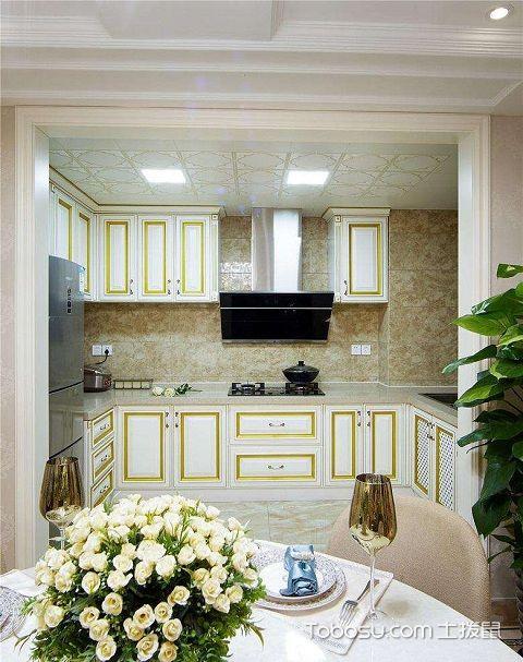 最新小户型厨房吊顶装修效果图之彩色