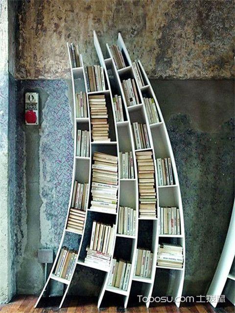 简易小书柜书架设计方案二:月亮形书架