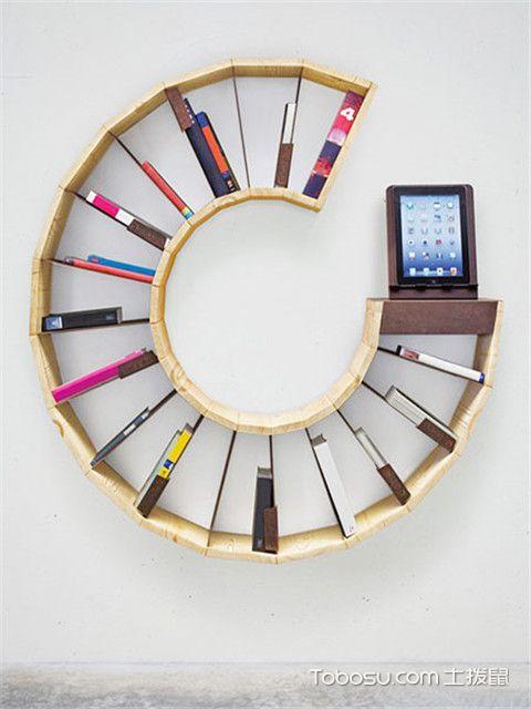 简易小书柜书架设计方案三:C形书架