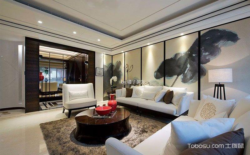 富含现代元素的现代中式客厅设计效果图