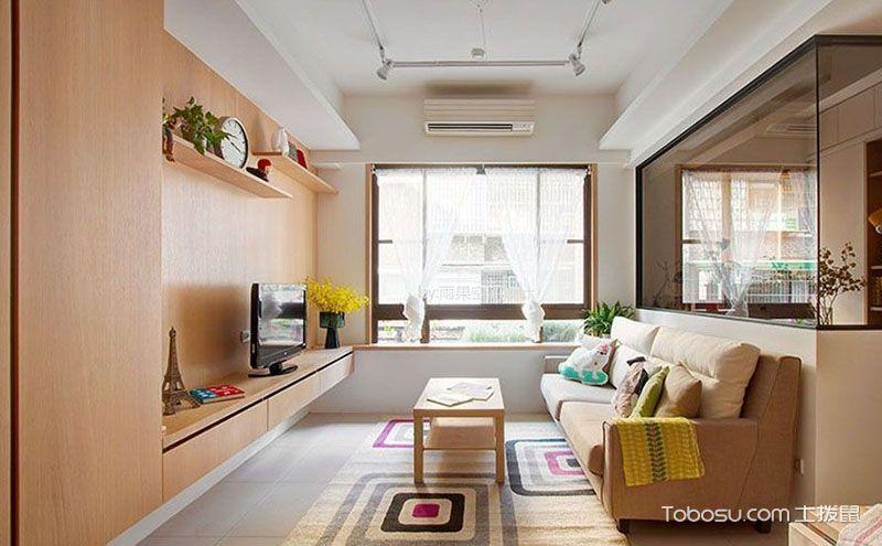 简约原木风100平米二居室装修效果图