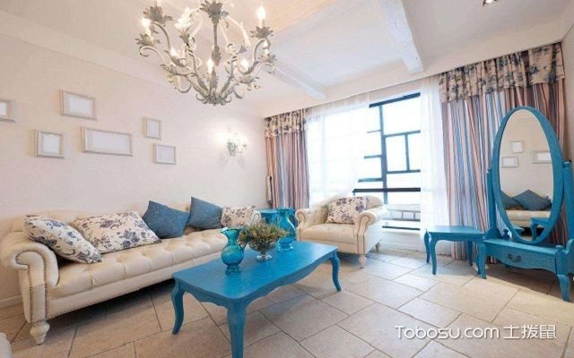 地中海风格客厅窗帘白色