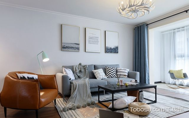 120平北欧风格三室两厅案例客厅