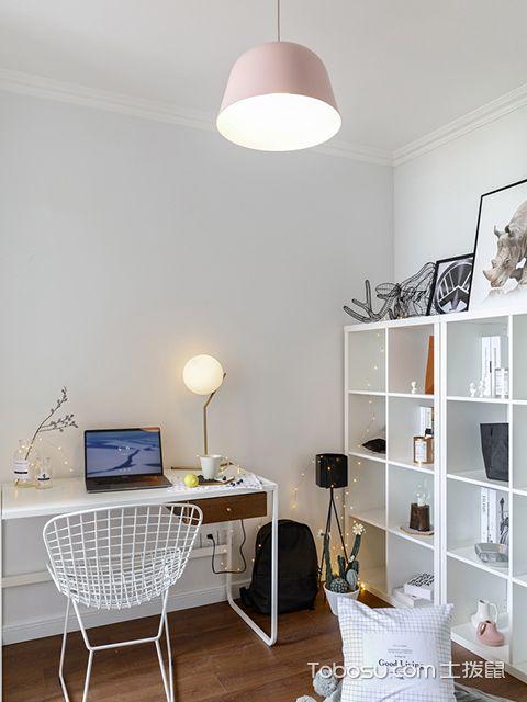 120平北欧风格三室两厅案例书房