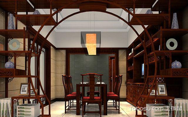 客厅装修隔断博古架风格