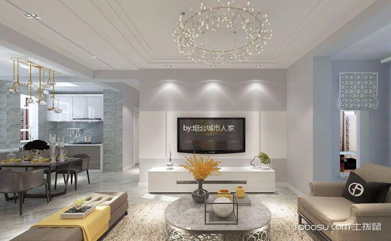 明快清爽120平米现代简约三室两厅装修效果图