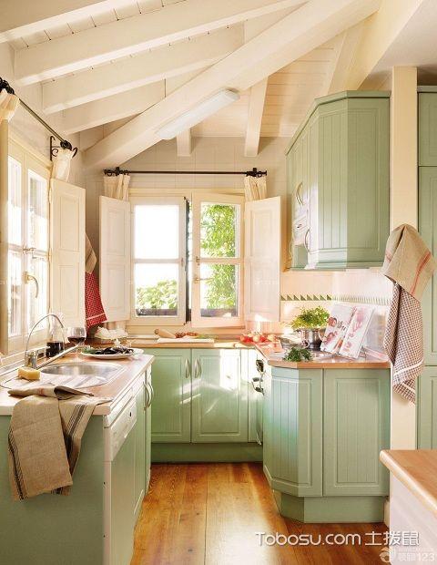 1米宽小阳台改厨房图绿色