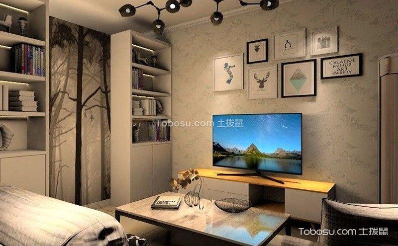 创意十足的北欧风格电视背景墙壁纸图片