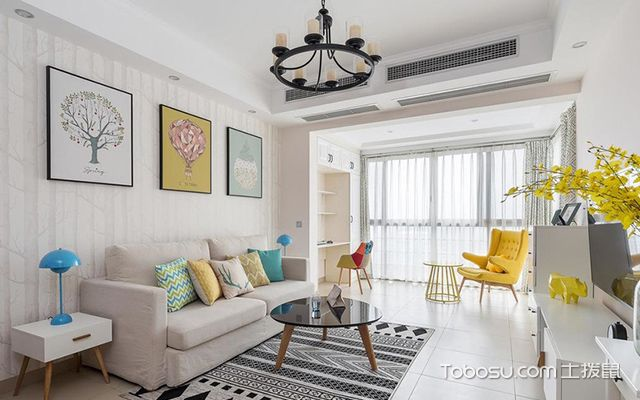 95平米三室两厅装修—客厅