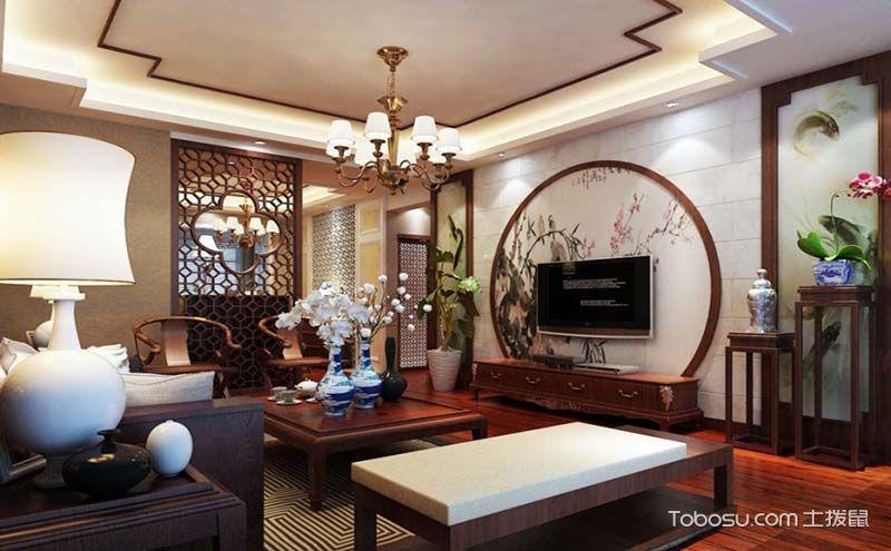 中式客厅背景墙装修图,在自然中体现文化内涵
