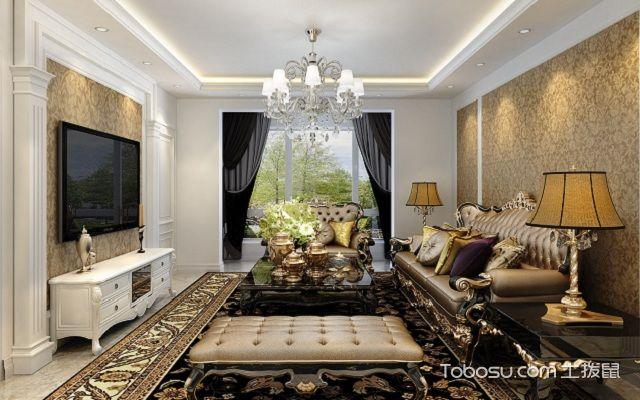 客厅墙布贴什么颜色欧式