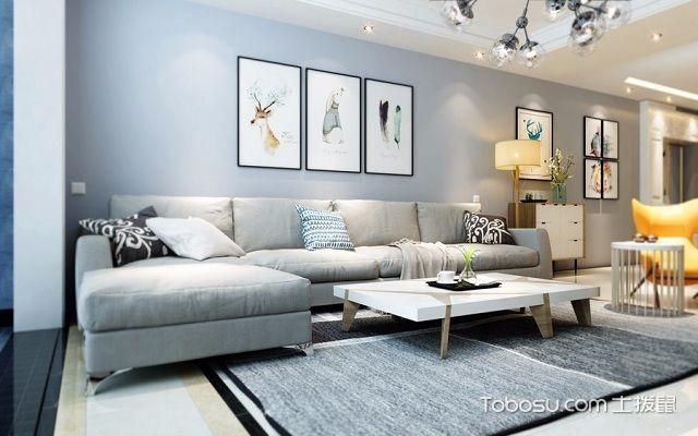 客厅墙布贴什么颜色蓝色