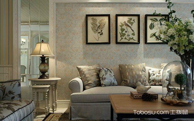 客厅墙布贴什么颜色碎花