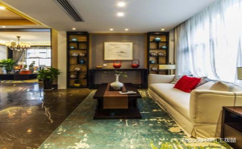 客厅博古架装修效果图,变身丰富多彩的多宝格