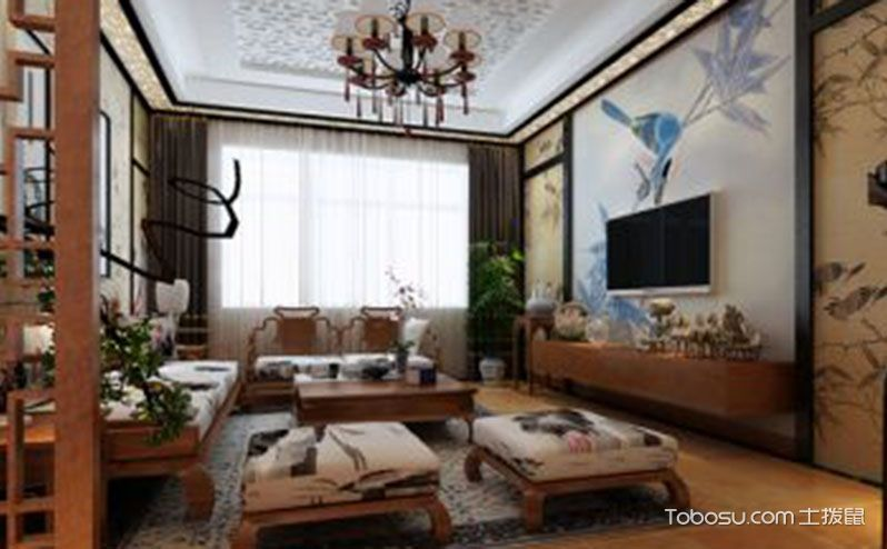 中式风格110平米装修,文雅之居笔墨香