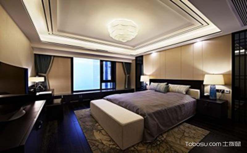 新中式卧室吊顶装修效果图,庄严中透出层次感