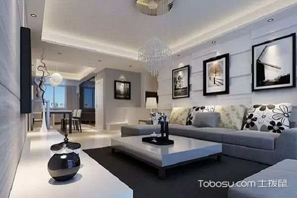 后现代黑白灰装修风格客厅