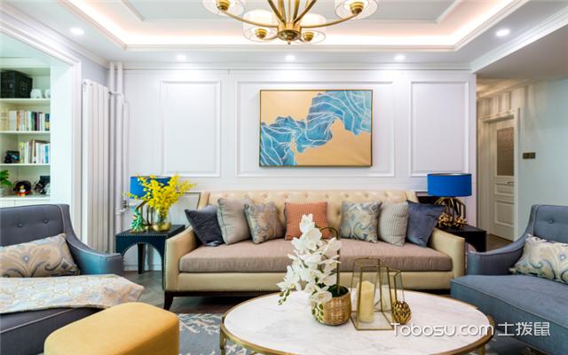 美式客厅布艺沙发摆放