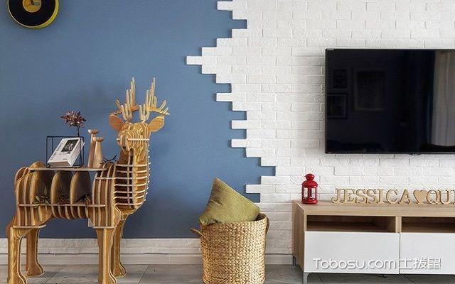 小户型北欧风格电视墙文化砖