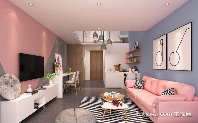 小户型北欧风格电视墙彩色