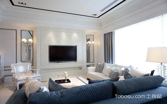小户型北欧风格电视墙白色